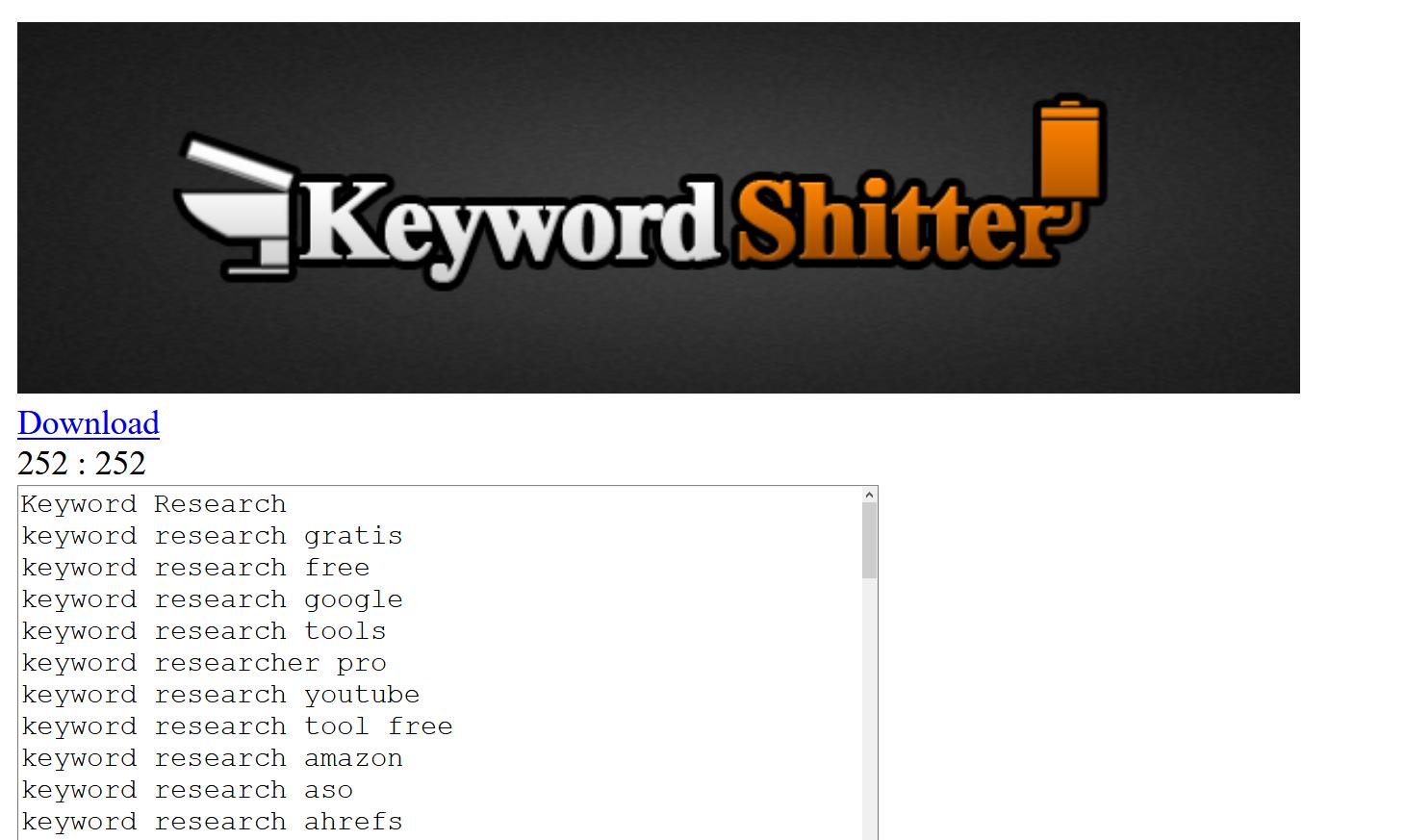 Keyword Shitter - Bulk Keyword Tool